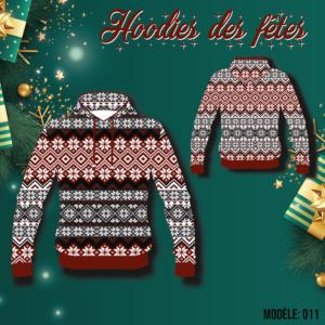 Hoodie des fêtes, christmas, noel, temps des fêtes, cadeaux, sublimation, capuchon, poches, zip